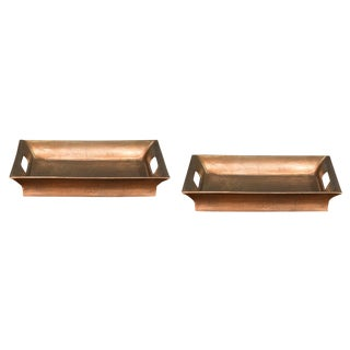 Sarreid LTD Antiqued Copper Aluminum Trays - A Pair For Sale