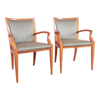 Baker Furniture Neoclassical Solid Maple Armchairs With Silk Upholstery, Pair For Sale