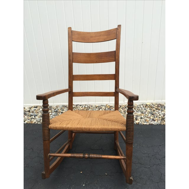 Antique maple rocking chair with ladder back and rush seat. Chair is in  very good - Antique Maple Rush Rocking Chair Chairish