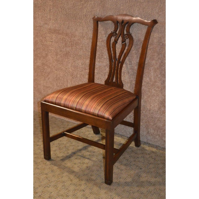 Vintage Ardley Hall Mahogany Chippendale Style Chairs - Set of 8 For Sale - Image 10 of 13