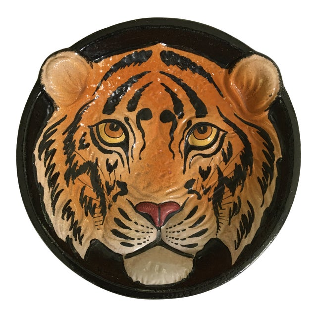Mid 20th Century Italian Mid-Century Tiger Face Pottery Bowl/Catchall For Sale