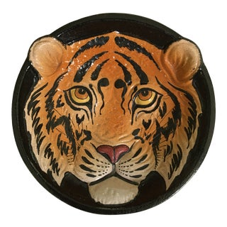 Mid 20th Century Modern Italian Tiger Face Pottery Bowl/Catchall For Sale