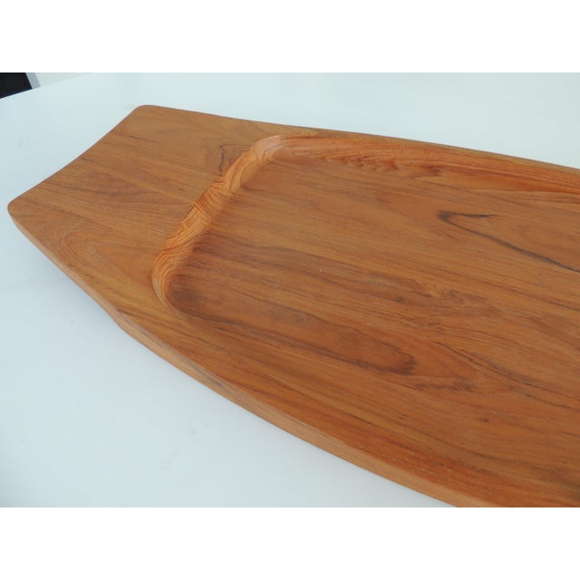Large Dansk solid teak tray. Made in the 1980s in the style of mid-century modern/boho chic.
