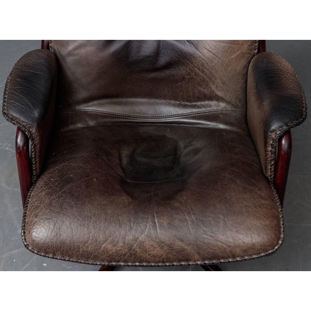 Leather and Rosewood Recliner and Ottoman For Sale - Image 9 of 10