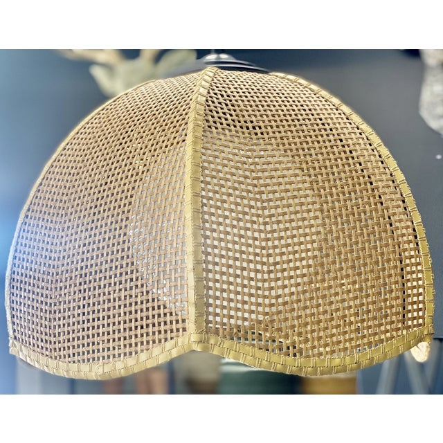 Postmodern Vintage Late 20th Century Wicker Scalloped Pendent Ceiling Light For Sale - Image 3 of 6