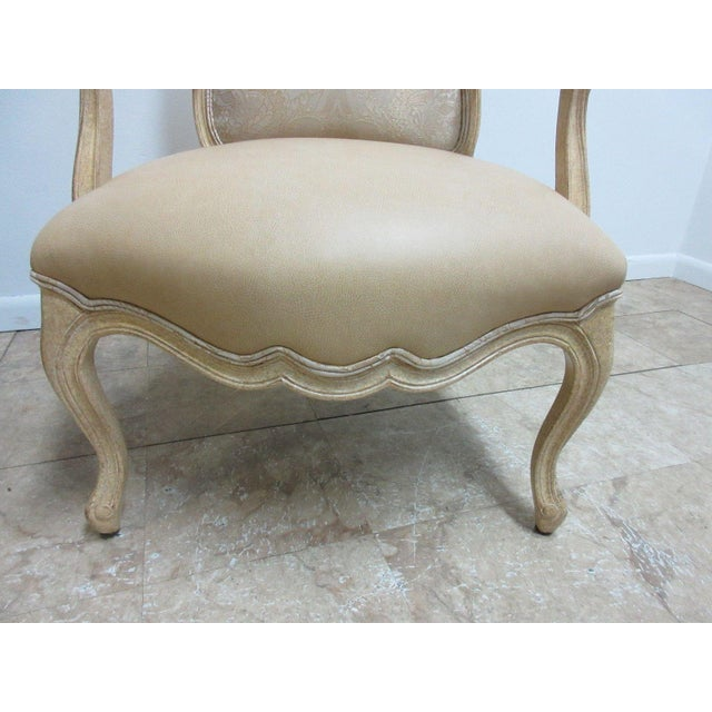 Vintage Louis XV Custom Leather Italian Carved Fireside Lounge Club Chairs - a Pair For Sale In Philadelphia - Image 6 of 10