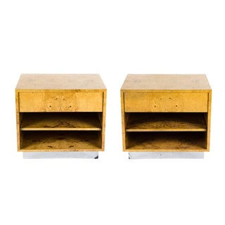 1990s Modern Burl Walnut Side Tables - a Pair For Sale