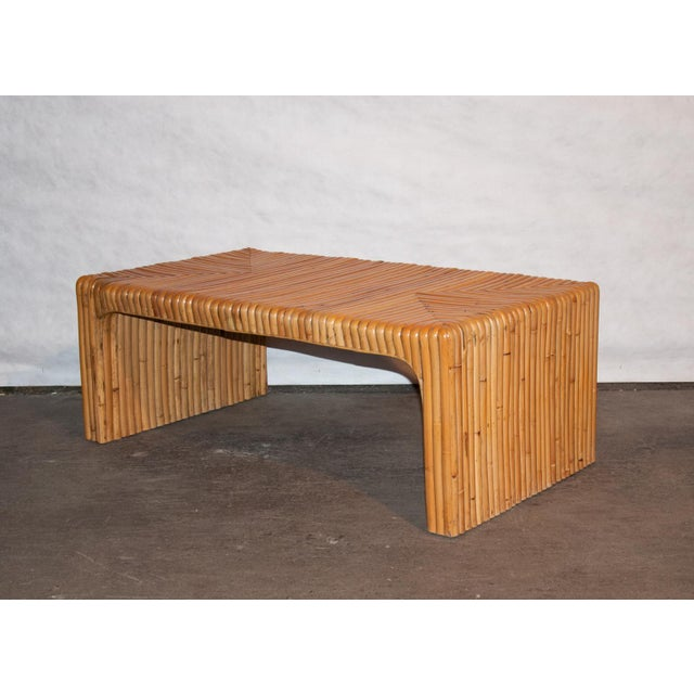 Mid 20th Century Circa 1950 Vintage Japanese Rattan Waterfall Coffee Table For Sale - Image 5 of 8