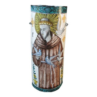 Made in Italy for Vietri Colorful Religious St Francis Wall Tile Hanging For Sale