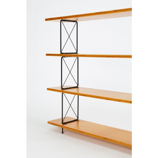 Tan Modernist Mahogany Bookshelf With Black Wire Frame For Sale