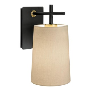 Satin Black and Brushed Brass Wall Light & Shade For Sale