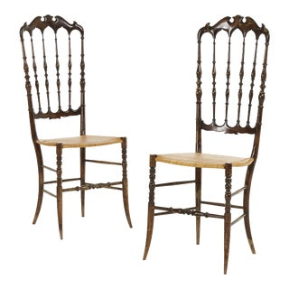 Pair of Midcenty Chairs by Colombo Sanguineti for Chiavari 1950s For Sale