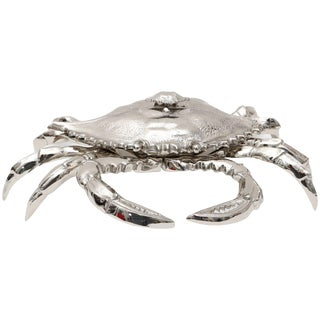 Nickle-Plated Life Size Crab Form Lidded Dish by Angel & Zevallos C. 2017 For Sale