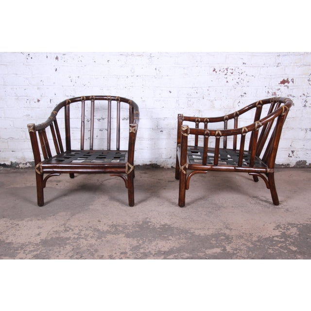 McGuire Hollywood Regency Mid-Century Modern Bent Rattan Lounge Chairs - a Pair For Sale - Image 9 of 13