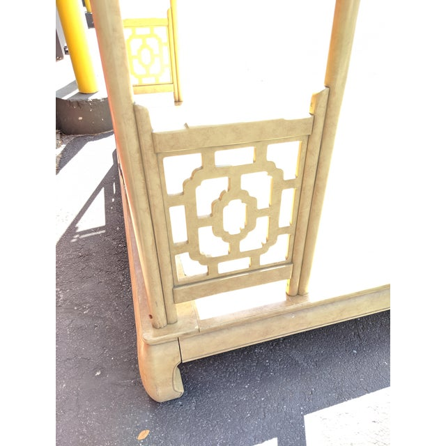 Chippendale Fretwork Ming Platform Lacquered King Size Canopy Bed For Sale - Image 11 of 13