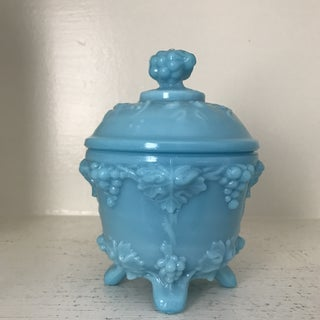 Vintage Portieux Vallerysthal Blue Glass Trinket Box Preview