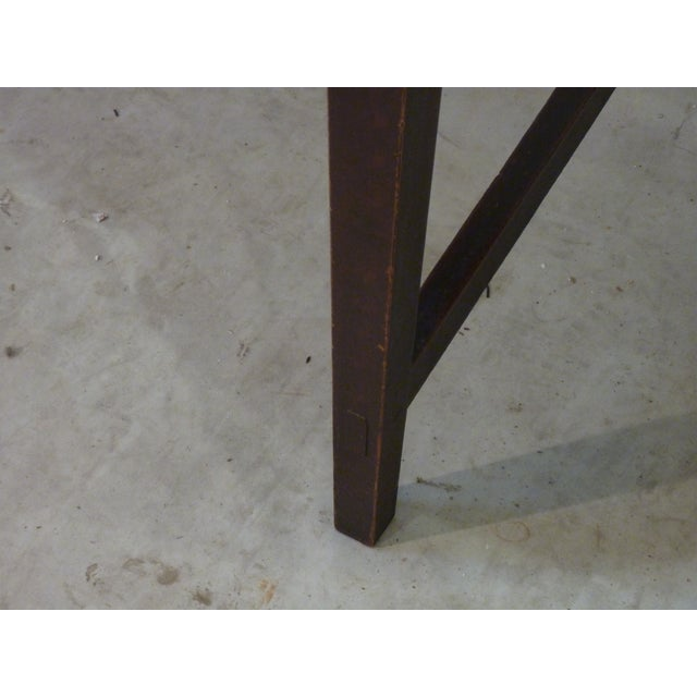Wood Early American Faux-Grain Demi-Lune Console For Sale - Image 7 of 9