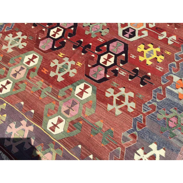 Rustic Turkish Kilim Rug For Sale In Raleigh - Image 6 of 11