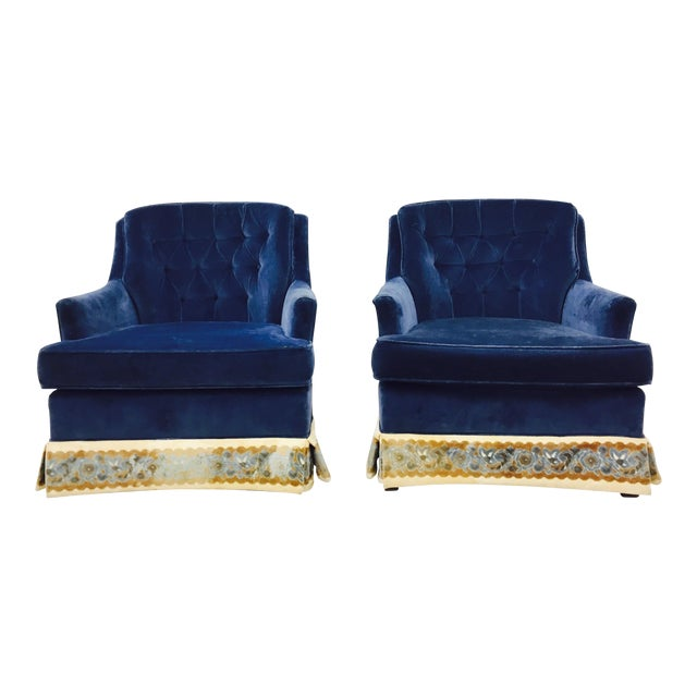 Navy Blue Velvet Club Chairs - a Pair - Image 1 of 8