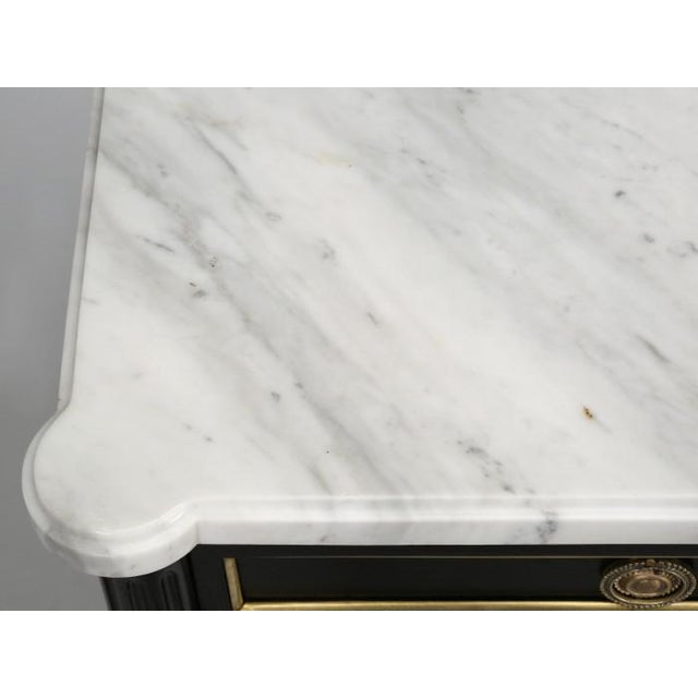 Marble French Louis XVI Ebonized Buffet With Marble Top For Sale - Image 7 of 12