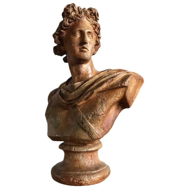Plaster Antique Neoclassical Bust of a Greek God For Sale - Image 7 of 7