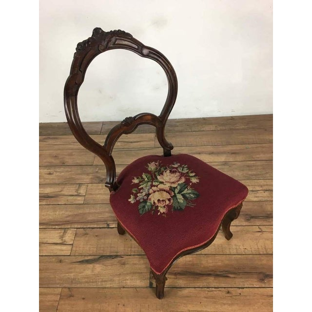 Shabby Chic Victorian Style Vintage Carved Wood Side Chair For Sale - Image 3 of 8