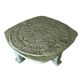 Mid-Century Aztec Calendar Solid Metal Coffee Table For Sale