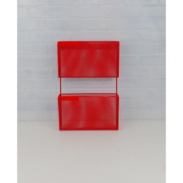 Abstract Vintage Red Metal Wall Mounted Organizer Mail Sorter Letter Holder For Sale - Image 3 of 9