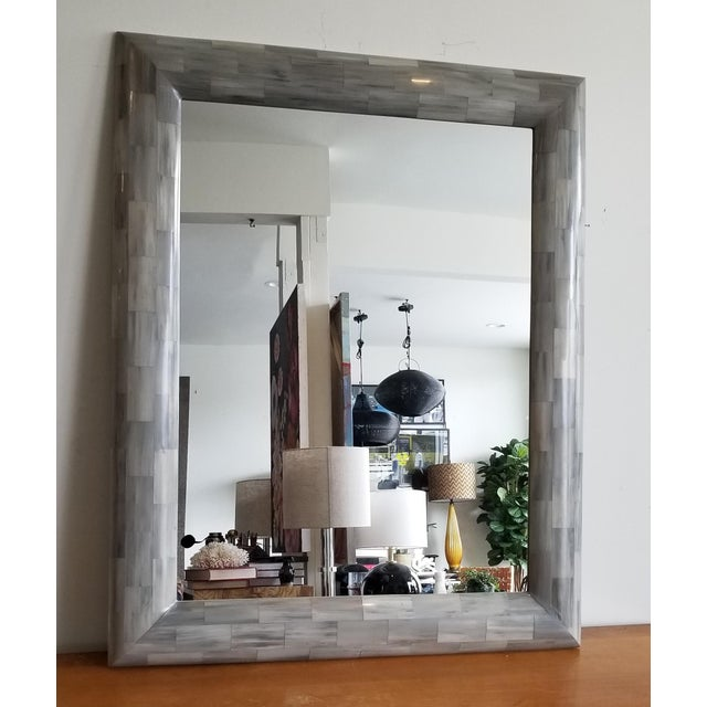 2010s Made Goods Light Gray Faux Horn Mirror For Sale - Image 5 of 5