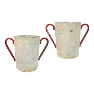 Pair of French Cast Concrete Planters For Sale