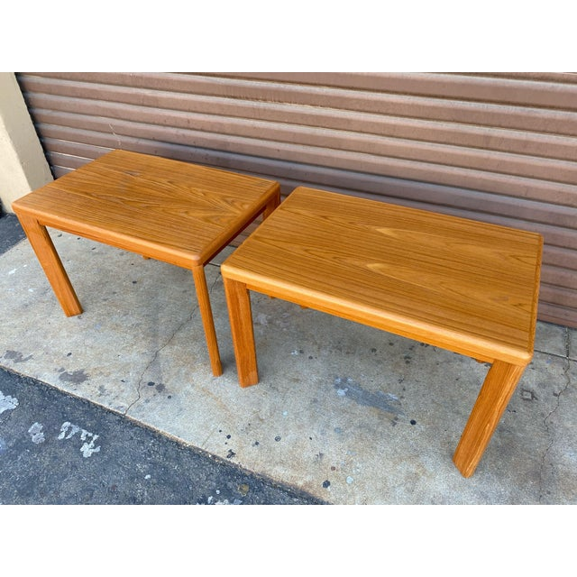 Mid-Century Modern Mid Century Danish Modern Teak Side Tables by Vejle Stole - a Pair For Sale - Image 3 of 6