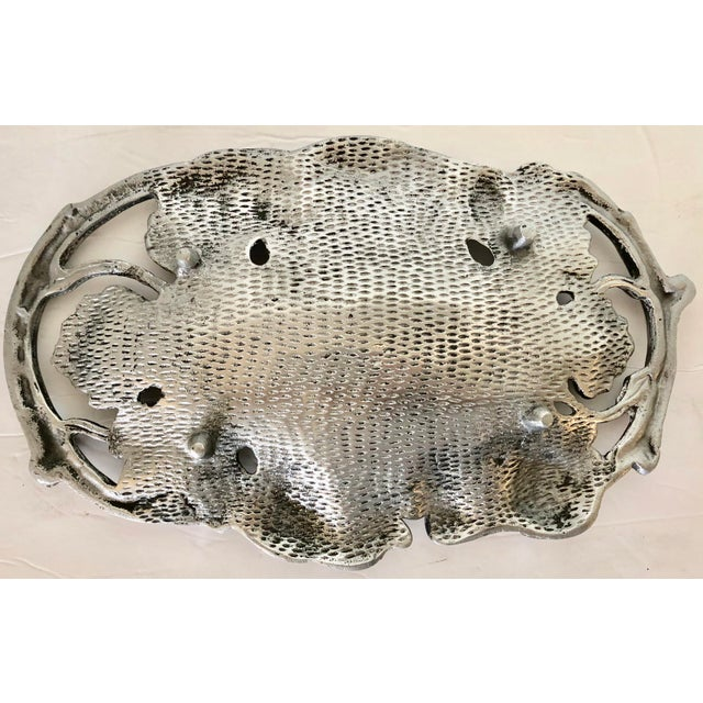 1980s Aluminum Grape Leaves Centerpiece For Sale - Image 5 of 6
