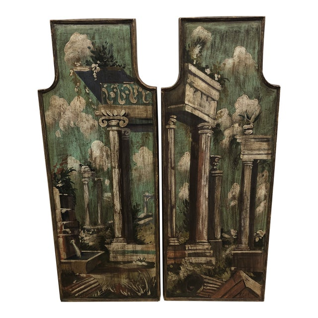 Vintage Mid Century Hand Painted Classical Ruins Panels- A Pair For Sale