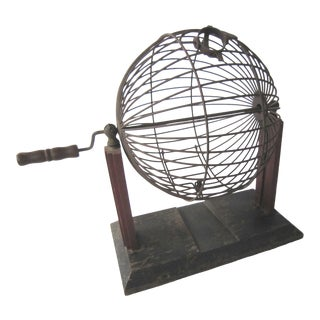 1930s Vintage Bingo Cage With Painted Stand and Steel For Sale