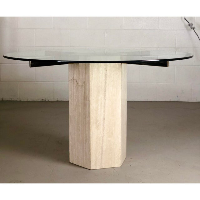 Modern 1980s Modern Artedi Round Travertine Stone and Glass Dining Table For Sale - Image 3 of 9