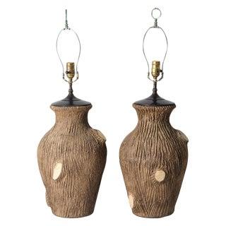 Rare Faux Bois Pottery Lamps - a Pair