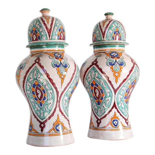 Moorish Ceramic Glazed Covered Urns Handcrafted in Fez Morocco - A Pair For Sale