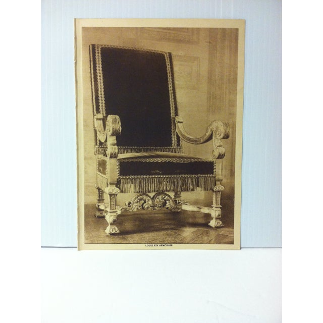 """This is an Antique The Mentor Association Print on Paper that is titled """"Louis XIV Armchair"""". The Print was Published by..."""