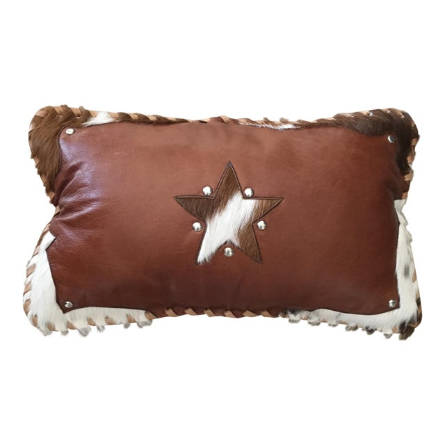 Handmade Leather & Cowhide Lumbar Texas Pillow For Sale
