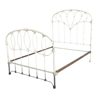 Antique French Country Full Iron Bed Frame Farmhouse Chic Headboard For Sale
