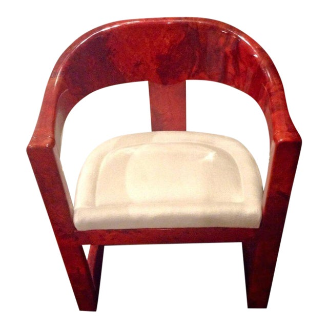 Stunning Karl Springer Oaniss Chair, in Red Goatskin For Sale