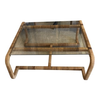 Mid Century Modern Rattan & Glass Coffee Cocktail Table For Sale