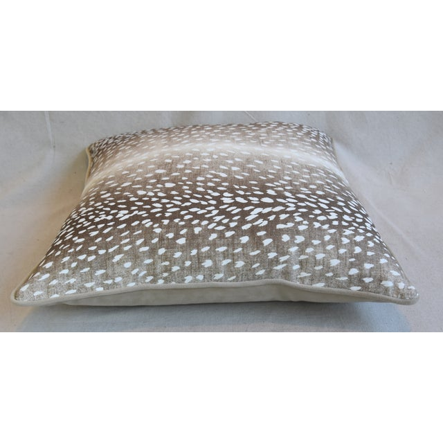 """Feather Antelope Deer Fawn Animal Pattern Linen & Velvet Feather/Down Pillow 22"""" Square For Sale - Image 7 of 9"""