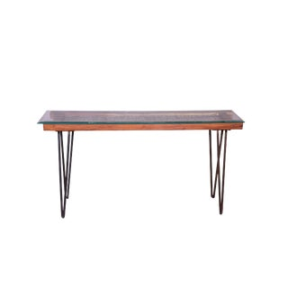 Modern Alyssa Glass-Topped Metal Dining Table