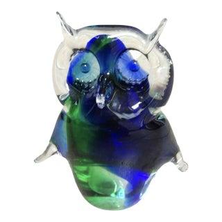 Vintage Murano Art Glass Owl For Sale