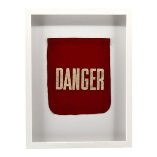 Vintage Framed Danger Flag, Wall Art Decor For Sale