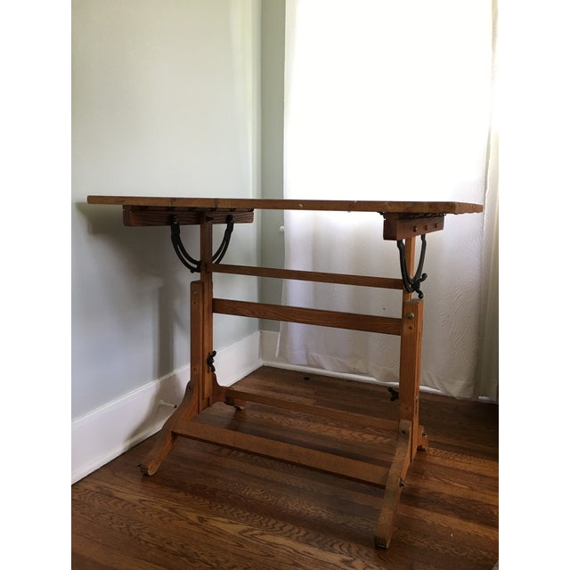 Brown Antique American Adjustable Drafting Desk Table For Sale - Image 8 of 9