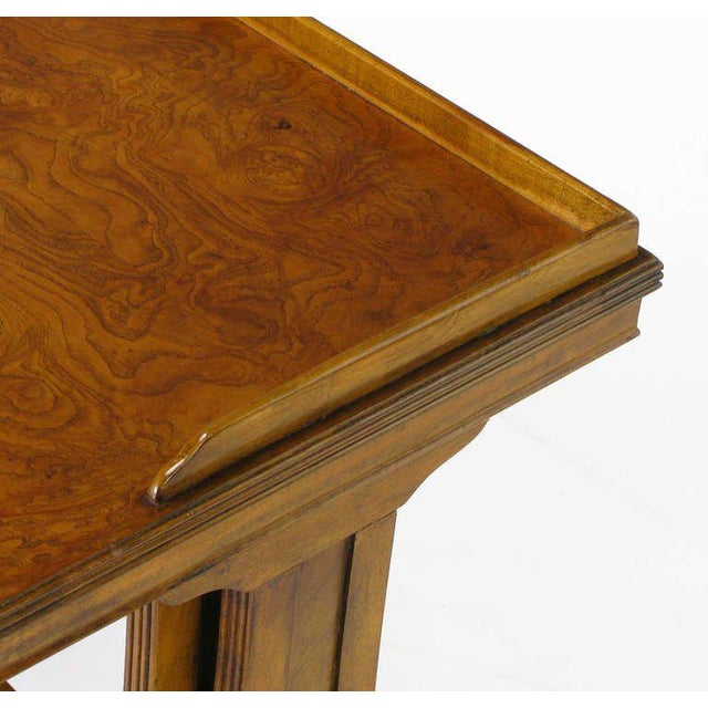 Brown Baker Art Nouveau Style Burled Walnut Nesting Tables For Sale - Image 8 of 10