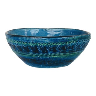 Mid-Century Aldo Londi for Bitossi Rimini Blue Ceramic Bowl For Sale