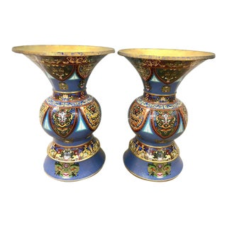 Pair of Large Chinese Cloisonné Enameled Urns Vases